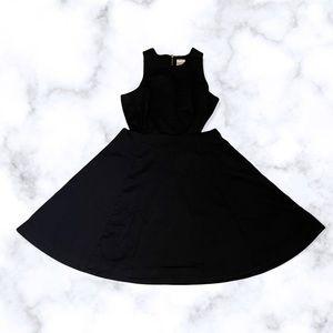 Simons Twik small little black dress cutout flare zipper sleeveless midi neutral